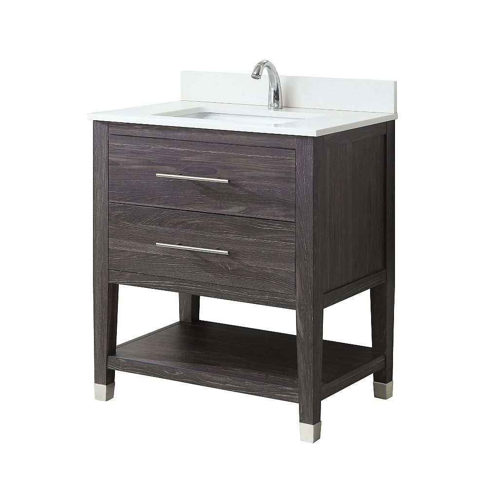 Glacier Bay Chesswood 30-inch Vanity Combo in Grey Brown Ash