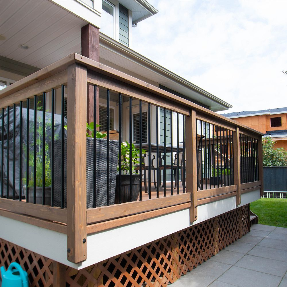 Veranda 24 ft. W Aluminum Deck Rail Pro Pack with 34-inch L x 3/4-inch D Round Balusters in Black (60-Piece)