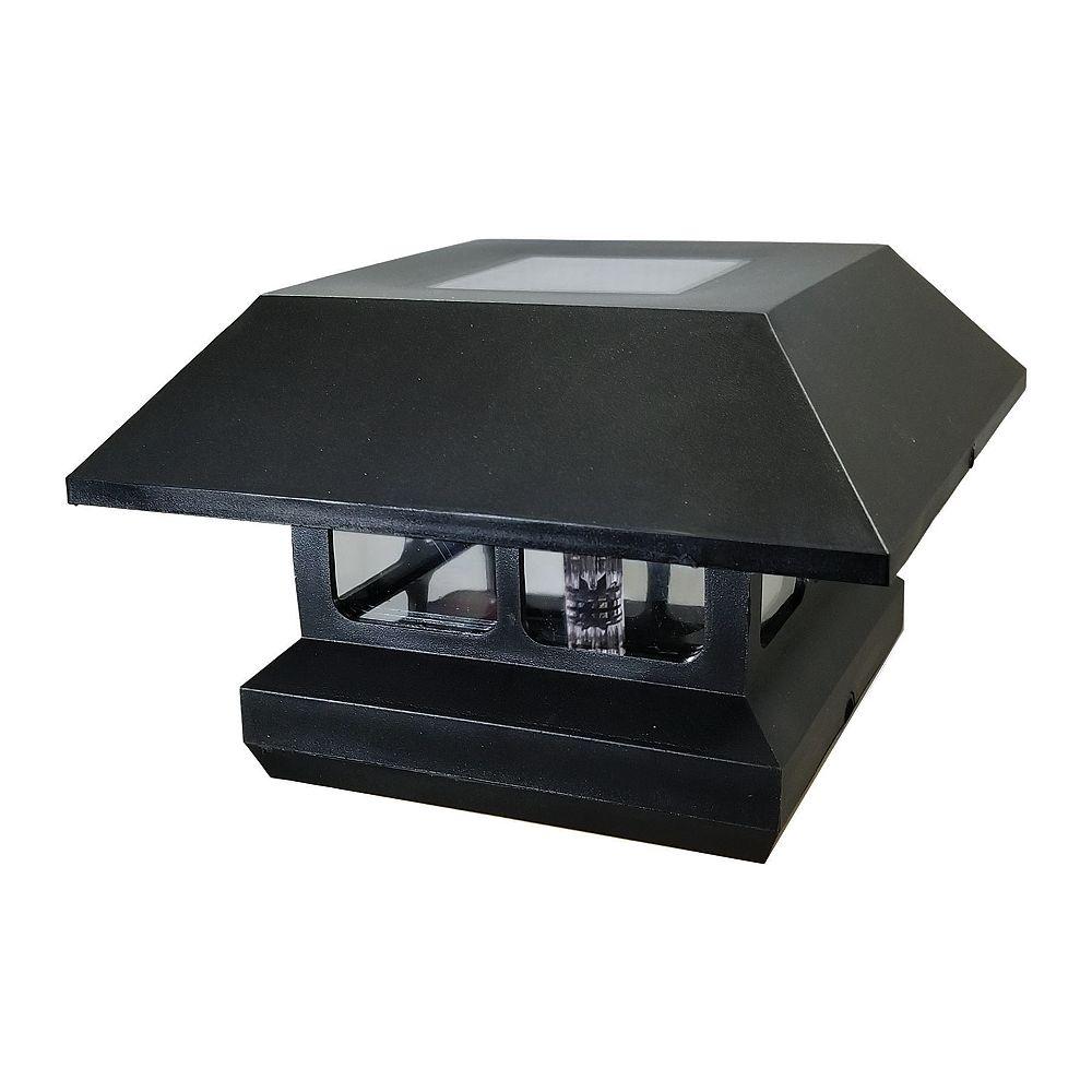 Veranda 4-inch x 4-inch Rigid Plastic Solar Light Post Cap in Black Pro Pack (6-Pack) for Deck or Fence Post