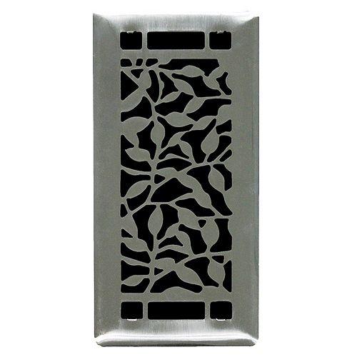 4 inch. x10 inch.  Desi Brushed Steel Floor Register Single