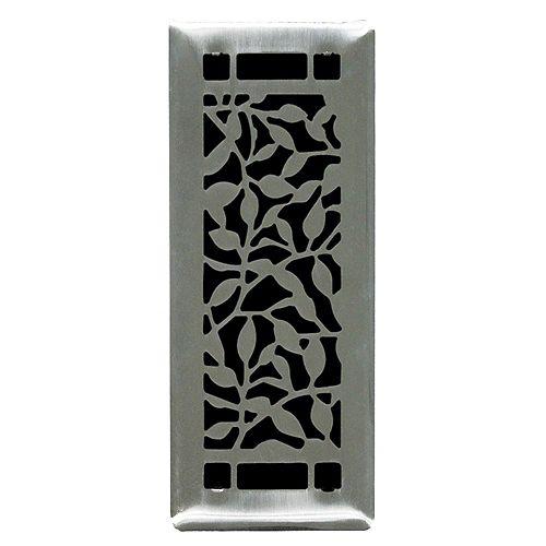 3 inch. x10 inch.  Desi Brushed Steel Floor Register Single