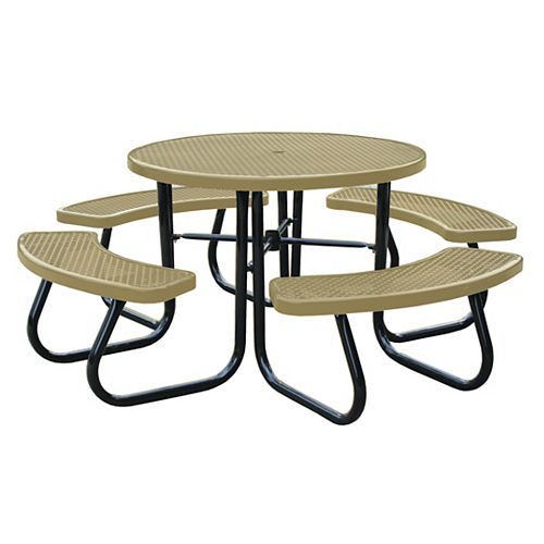 46 inch Tan Picnic Table with Built-In Umbrella Support