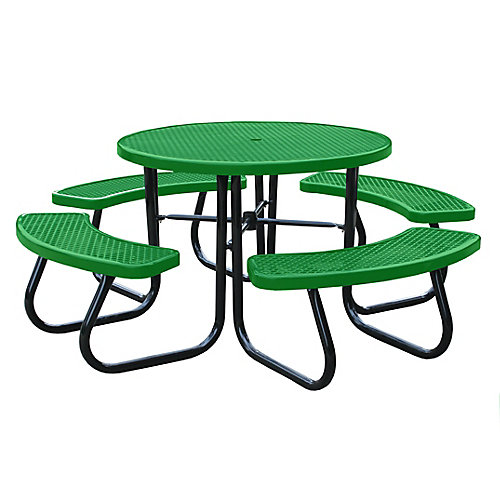 46 inch Light Green Picnic Table with Built-In Umbrella Support