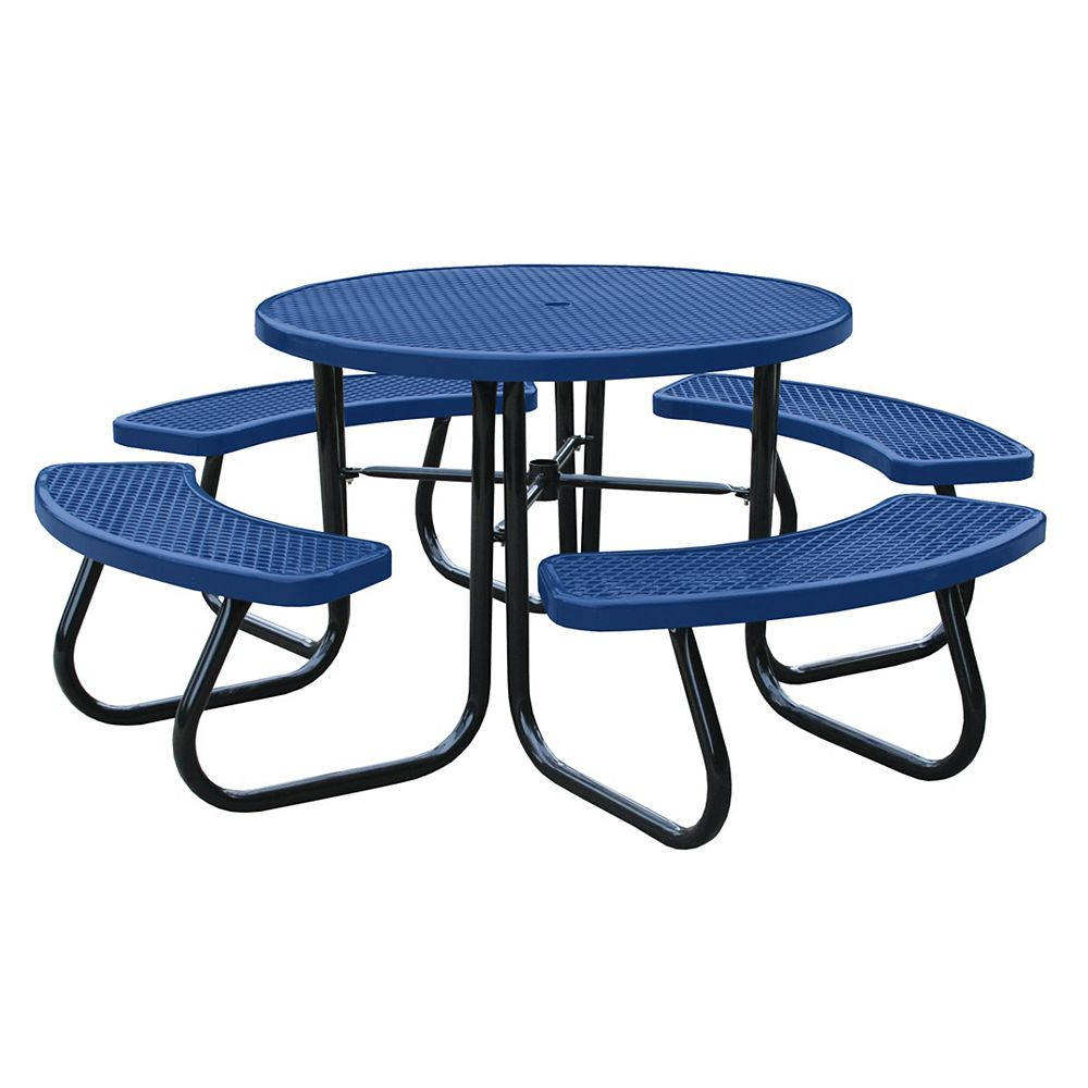 Paris 46 inch Blue Picnic Table with Built-In Umbrella Support