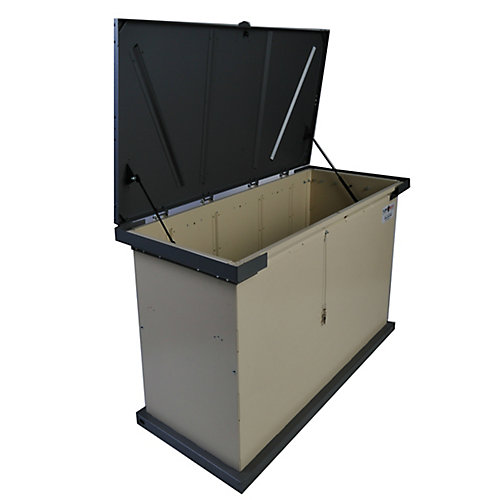 GRIZZLY 149 Gal. Tan Galvanized Metal Animal Resistant Storage Container