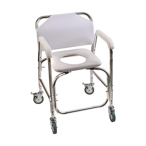 Chaise de douche roulante DMI avec siège toilette rembouré