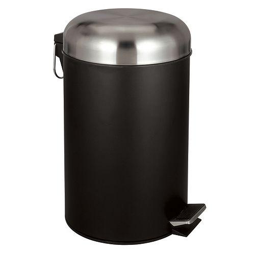 Poubelle à pédale avec couvercle à dôme de  - noir émaillée, 30 l