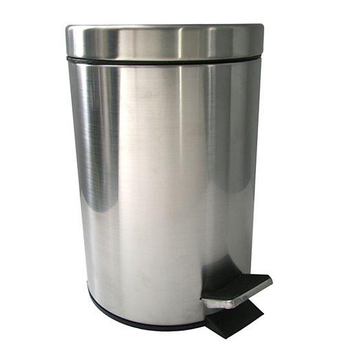 Poubelle à pédale en métal brossé de  - 3 l