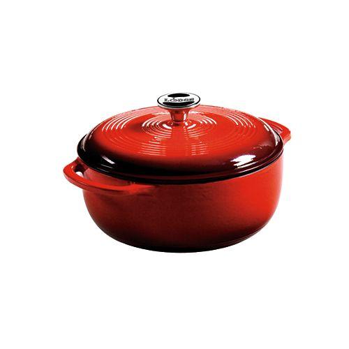 Lodge Enamel Dutch Oven, 4.5Qt, Red