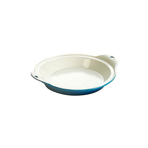 Stoneware Baking Dish 9.5 inch Dia Blue