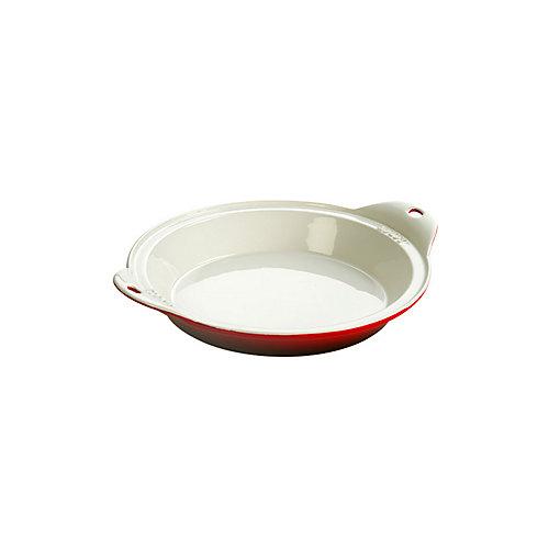 Stoneware Baking Dish 9.5 inch Dia Red