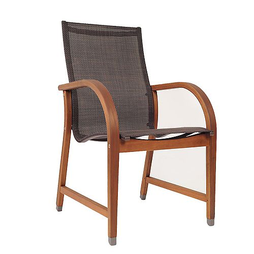 Bahamas 4-Piece Eucalyptus Patio Armchair Set with Brown Sling Seat