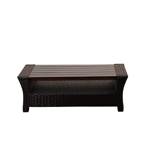 Bradley Black Synthetic Wicker Patio Coffee Table with Plastic Wood Top