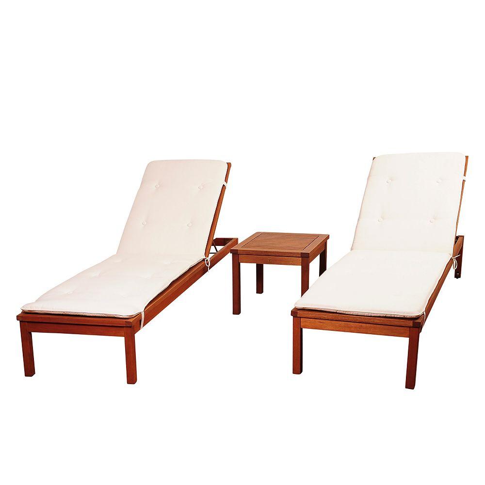Amazonia Murano 3-Piece Eucalyptus Wheel Patio Lounger Set with White Cushions