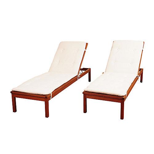 Murano 2-Piece Eucalyptus Wheel Patio Lounger Set with White Cushions