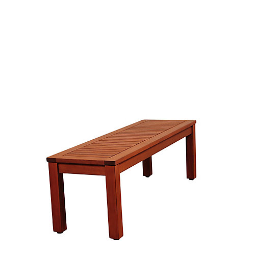Cooper 53 inch Eucalyptus Backless Patio Bench