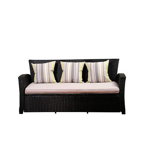 Amazonia Atlantic Bradley Black Synthetic Patio Wicker Sofa with Light Grey Cushions