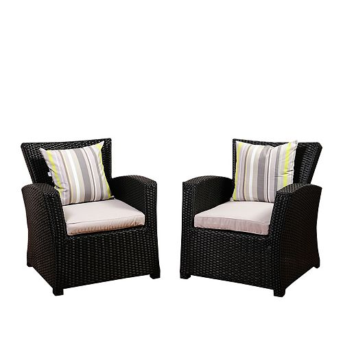 Atlantic 2-Piece Bradley Black Synthetic Wicker Patio Armchair Set with Light Grey Cushions