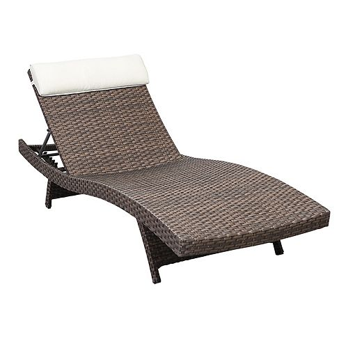 Florida Deluxe Brown All-Weather Wicker Patio Chaise Lounge with Off-White Cushion (Set of 2)
