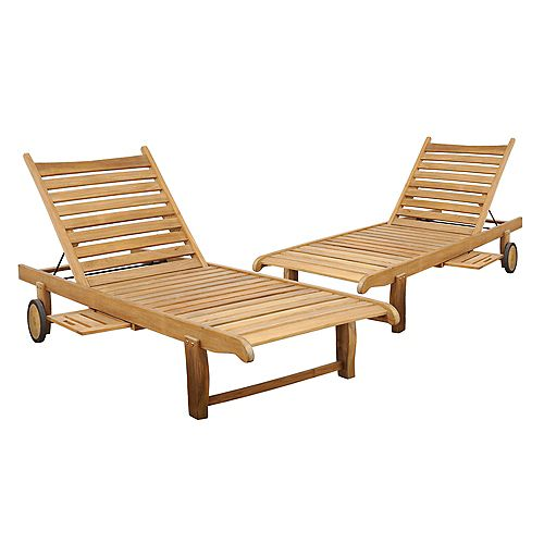 Cairo Teak Patio Chaise Loungers (Set of 2)