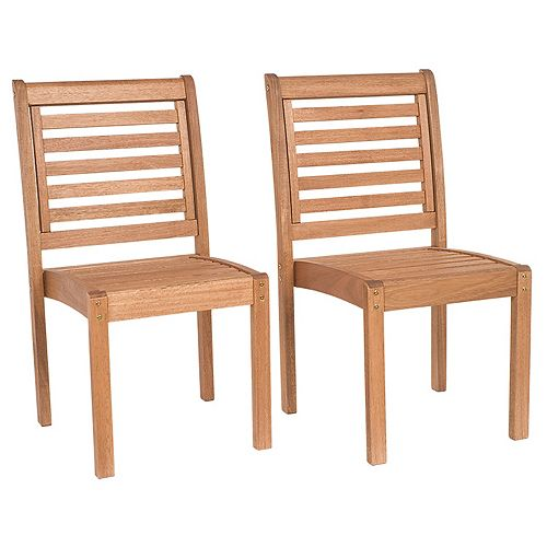 Amazonia Eucalyptus Stackable Patio Chair Set without Arms