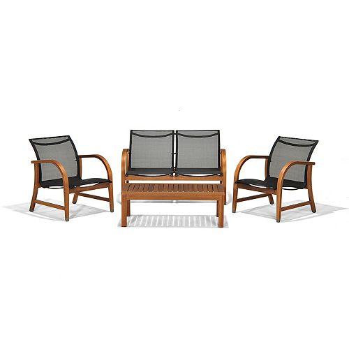 Manhattan Eucalyptus 4-Piece Patio Deep Seating Set