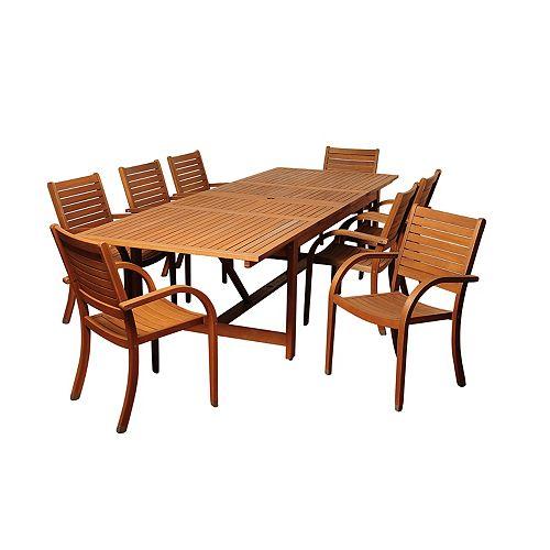 Amazonia Dylan Rectangular 9-Piece Eucalyptus Extendable Patio Dining Set