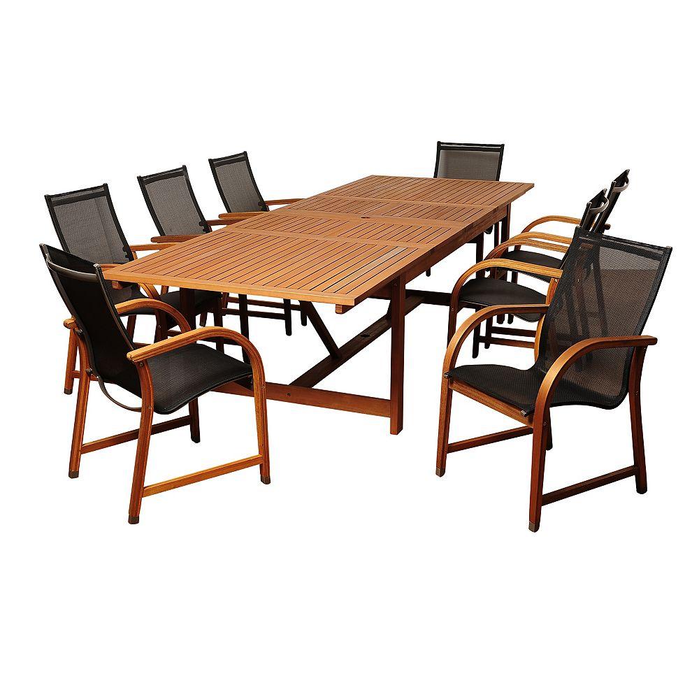 Richards Rectangular 9 Piece Eucalyptus Extendable Patio Dining Set