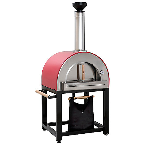 Pronto 300 20-inch x 24-inch Wood Burning Oven with Cart in Red