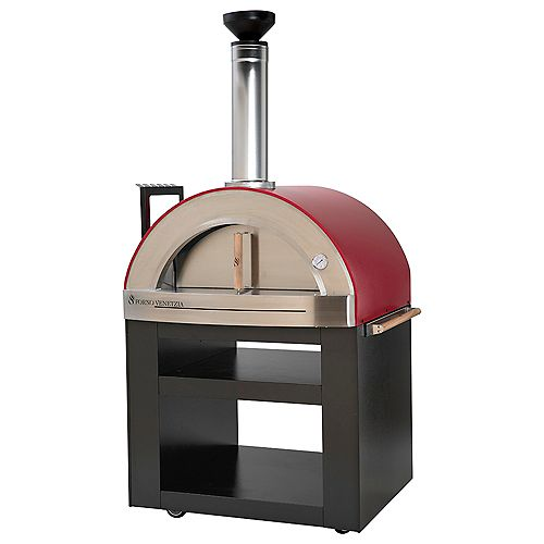Torino 300 24-inch x 32-inch Wood Burning Oven with Cart in Red