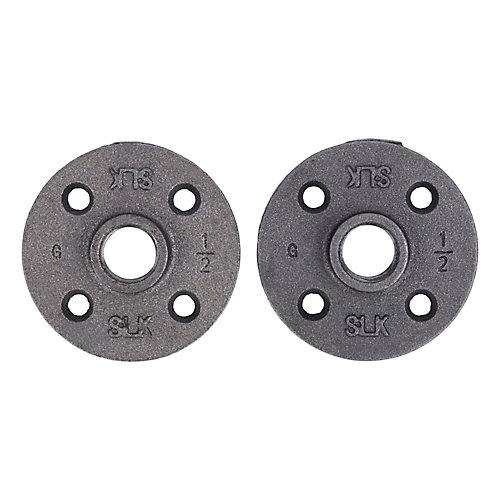 Fitting Black Iron Floor Flange 1/2 inch, 2 Pack