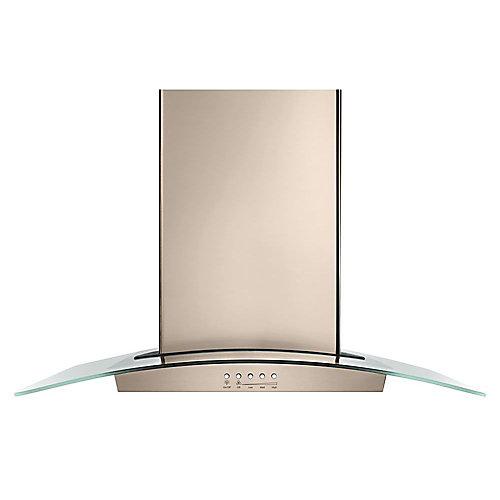 36-inch Modern Glass Wall Mount Range Hood in Sunset Bronze