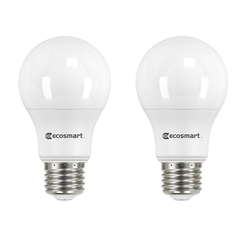 Ampoule à DEL non modifiable à la lumière du jour (5000K +) 60W Equivalent A19 (2-Pack)