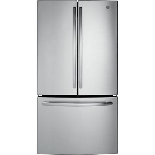 GE Réfrigérateur à porte française en acier inoxydable W 27 pi. cu. 36 po.