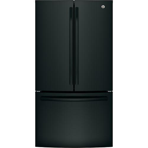 GE 36-inch W 27 cu. ft. Bottom mount French Door Refrigerator in Black - ENERGY STAR®