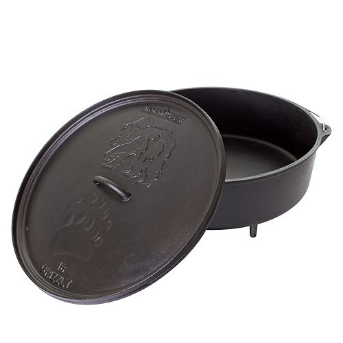 Camp Chef 16 inch Cast Iron Classic Standard Dutch Oven Grizzly Bear Edition
