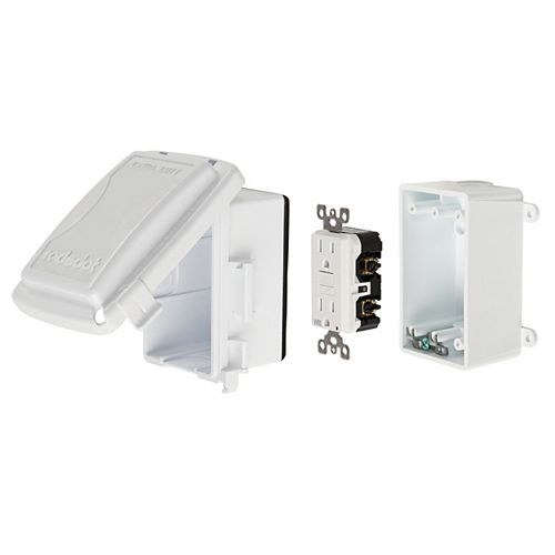 GFCI Medium white while-in-use cover plastic kit