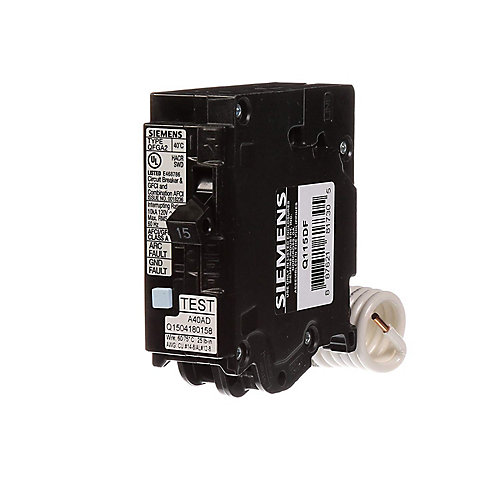 15 Amp AFCI/GFCI Dual Function Circuit Breaker, Plug on Load Center Style