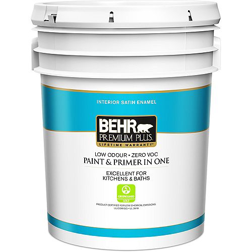 Behr Premium Plus Interior Satin Enamel Paint & Primer in One - Medium Base, 18.9 L