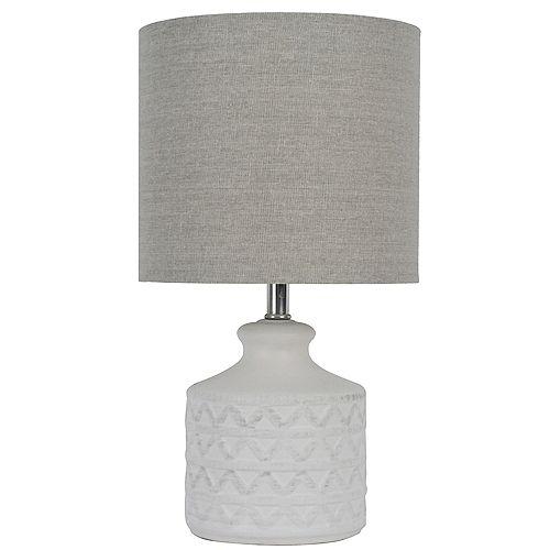 """Lampe de table en céramique blanche 15"""" avec abat-jour en tissu gris"""