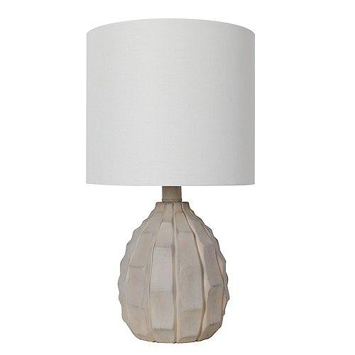 """Lampe de table en bois flotté blanc patiné 15,5"""" avec abat-jour en tissu blanc"""