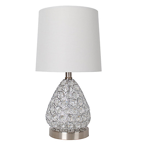 17 inch Clear Crystal and Brushed Steel Table Lamp with White Fabric Shade