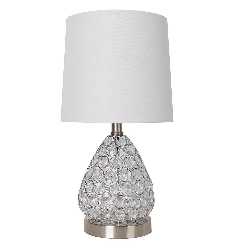 """DSI Lighting Lampe de table en acier brossé et cristal transparent 17"""" avec abat-jour en tissu blanc"""