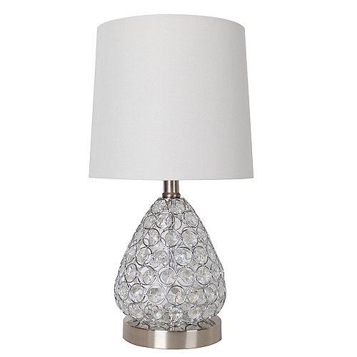 """Lampe de table en acier brossé et cristal transparent 17"""" avec abat-jour en tissu blanc"""