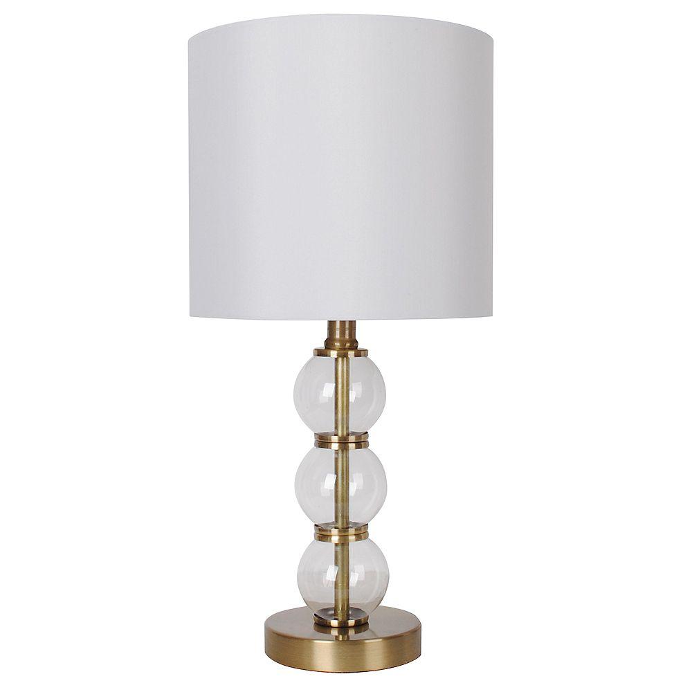 """DSI Lighting Lampe de table en laiton antique et verre transparent 18"""" avec abat-jour en tissu blanc"""