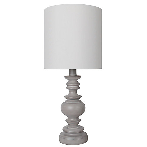 18 inch Grey Table Lamp with White Fabric Shade