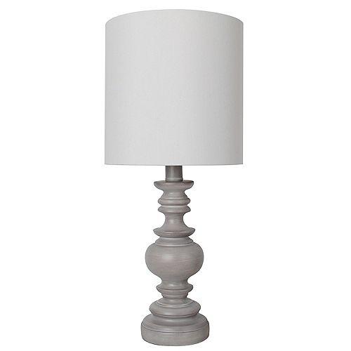 """Lampe de table grise 18"""" avec abat-jour en tissu blanc"""