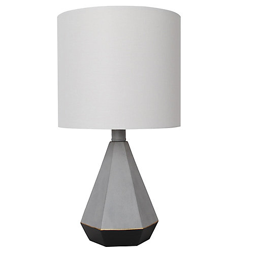 15.5 inch Grey and Black Table Lamp with White Fabric Shade