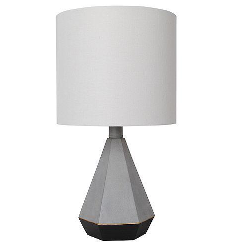 """Lampe de table noire et grise 15,5"""" avec abat-jour en tissu blanc"""