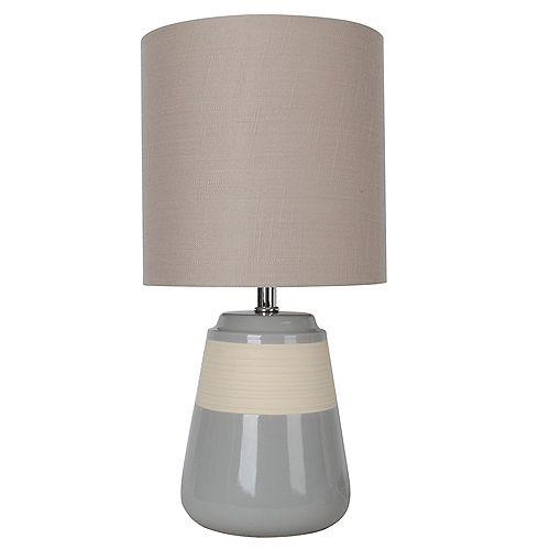 """Lampe de table en céramique grise 16"""" avec abat-jour en tissu beige"""